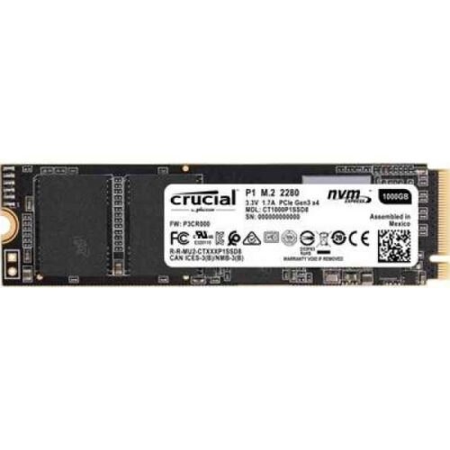 Crucial 1TB SSD P1 3D NAND NVMe PCIe M.2 Solid State Disk - CT1000P1SSD8