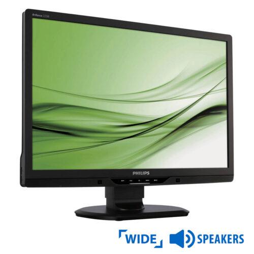 """Used Monitor 225B TFT/Philips/22""""/1680x1050/wide/Black/w/Speakers/D-SUB & DVI-D & USB HUB"""