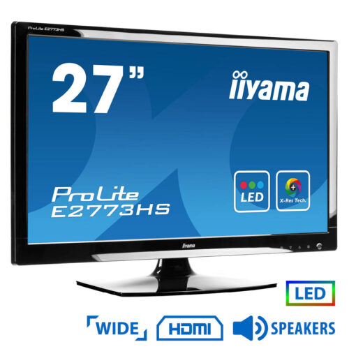 """Used Monitor E2773HS LED/iiyama/27""""/1920x1080/Wide/Black/w/Speakers/VGA & DVI-D & HDMI"""